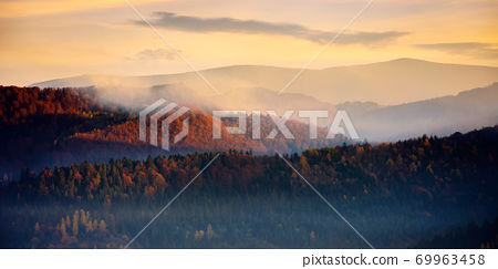 rolling hills in fog at sunrise. beautiful mountain landscape in autumn season. clouds on the morning sky. dramatic nature scenery 69963458