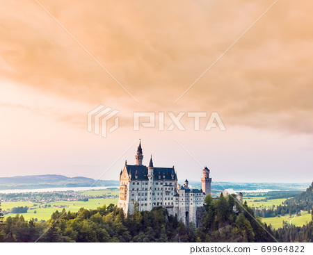 Beautiful aerial view of Neuschwanstein castle in summer season 69964822