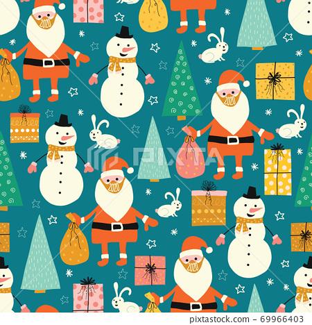 Corona Christmas seamless pattern. Santa Claus wearing a protective face mask against coronavirus 69966403