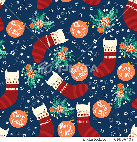 Christmas cats seamless vector background with kittens in stockings, flowers. Repeating holiday 69966405