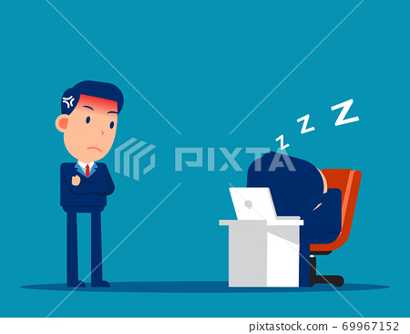 Office worker relaxing at desk during work and Angry boss 69967152