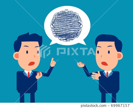 Business team confusing communication. Brainstorming in colleagues 69967157