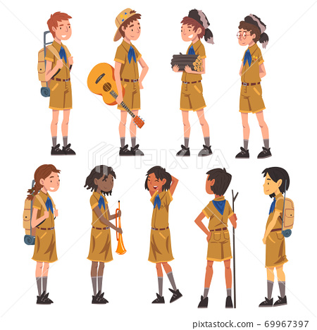 Scouts Boys and Girls Set, Scouting Kids Characters Wearing Uniform and Blue Neckerchiefs with Camping Objects, Summer Camp Activities Vector Illustration 69967397