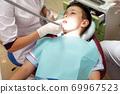 Dentist examining boy mouth 69967523