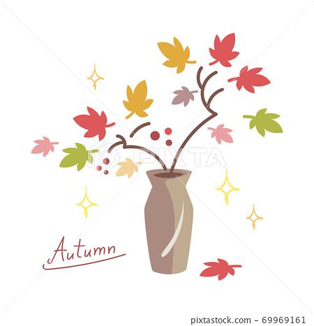 用秋葉裝飾的花瓶的插圖 69969161