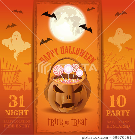 Invitation card for a Halloween night party 69970361