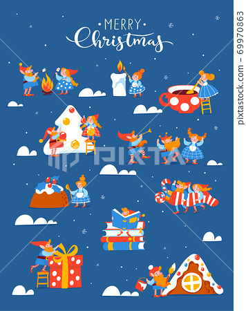 Cartoon Christmas hygge card with funny gnomes and lettering. 69970863