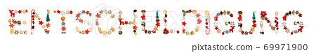 Colorful Christmas Decoration Letter Building Entschuldigung Means Apology 69971900