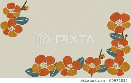 日式山茶花框架 69972833