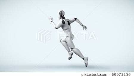 Running robot humanoid showing fast movement and vital energy 69973156