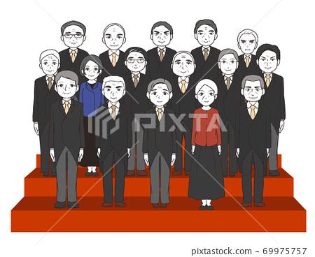 內閣成立的合影,大多是有背景的老年人 69975757