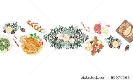 크리스마스 식사 일러스트 69976368