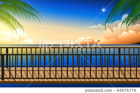 landscape of wooden bridge on the beach in the morning 69976776