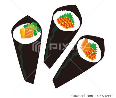 手捲壽司的矢量圖 69976941