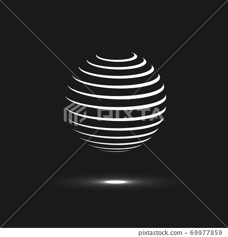 Abstract sphere icon. Vector design with twirl line 69977859