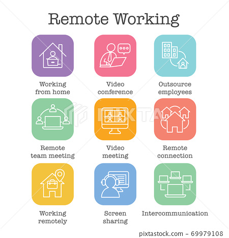 Remote work icon set with work from home, video meetings, etc 69979108