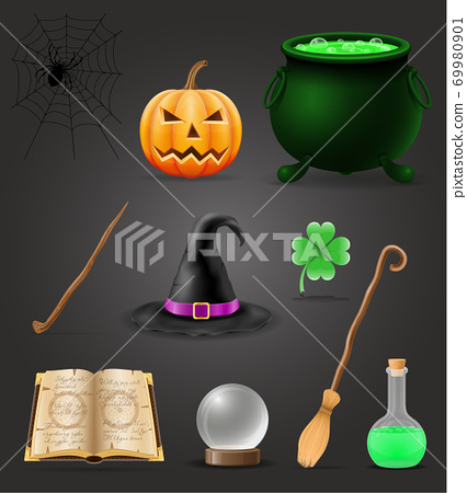 magic objects for witchcraft witch vector illustration 69980901