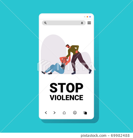 angry man punching and hitting woman stop domestic violence and aggression against women 69982488