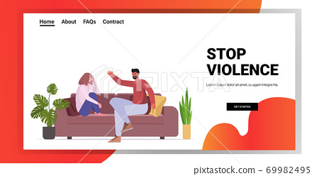 angry husband punching and hitting wife stop domestic violence and aggression against women 69982495