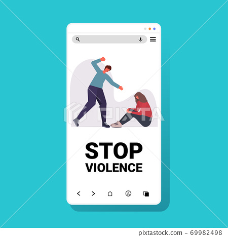angry husband punching and hitting wife stop domestic violence and aggression against women 69982498