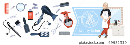 hairdresser in uniform holding scissors modern beauty salon concept tools and accessories collection 69982539