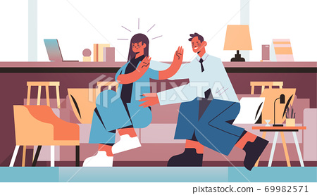 businessman molesting female employee sexual harassment at work concept businesswoman feeling disgusted 69982571