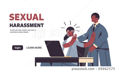 businessman molesting female employee sexual harassment at work concept lustful boss touching secretary's shoulders 69982575