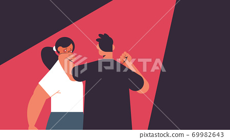 angry man punching and hitting woman stop domestic violence and aggression against women 69982643
