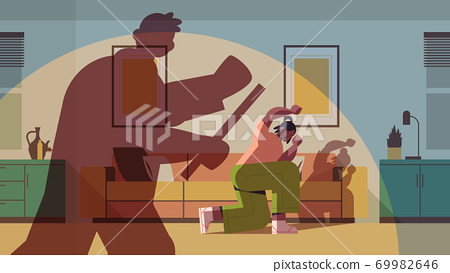 shadow of angry husband punching and hitting wife stop domestic violence and aggression against women 69982646
