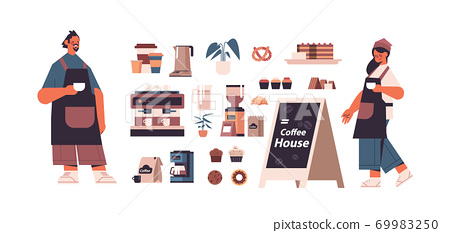 set coffee shop tools and accessories with man woman barista in uniform isolated 69983250