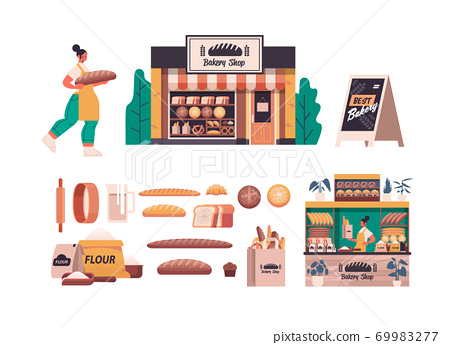 set different bakery pastry products female baker in uniform holding bread baking concept full length 69983277