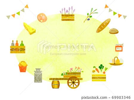 세련된 농산물 시장의 프레임 수채화 텍스처 69983346