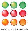 Set of 3 types and 3 color icons and button graphic materials 69983420