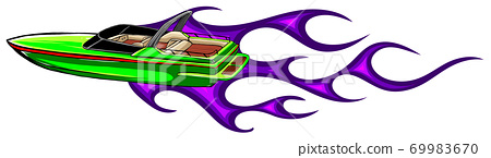 Speedboat flames vector illustration. Luxury and expensive boat. 69983670