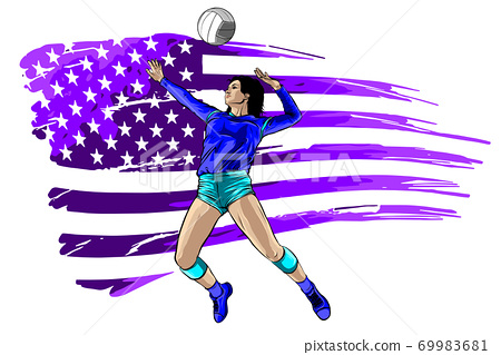 Silhoutee of a female volleyball player returning a ball with a dig. vector 69983681