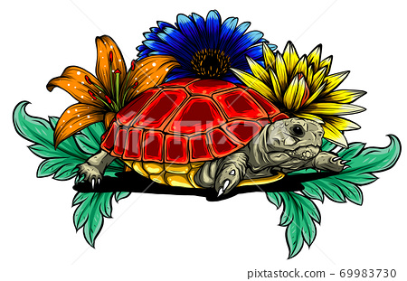 Land turtle in the jungle vector illustration 69983730