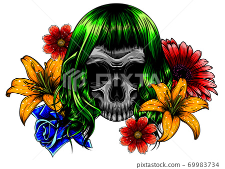 Women's skull in pop art style with fashionable hairstyle 69983734