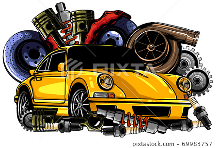 Car system. spare parts. realistic car. vector illustration 69983757