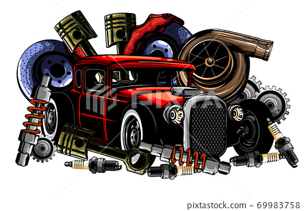 Car system. spare parts. realistic car. vector illustration 69983758