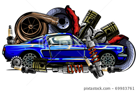 Car system. spare parts. realistic car. vector illustration 69983761