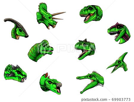 A group of dinosaurs on a white background vector 69983773