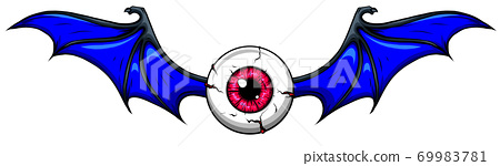 Tattoo design of a flying eyeball with wings. 69983781