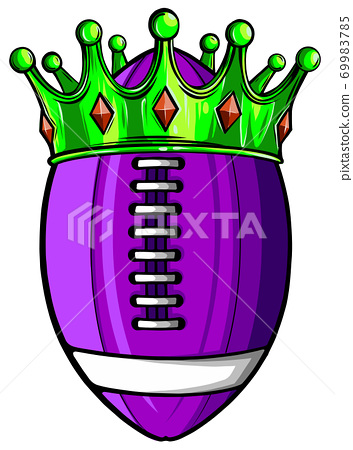 Ball with crown design, American football super bowl sport hobby competition game training equipment tournement and play theme 69983785
