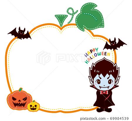 萬聖節南瓜和吸血鬼可愛框架 69984539
