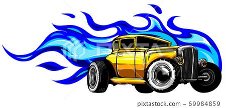 Fast car flames vector illustration desgn art 69984859