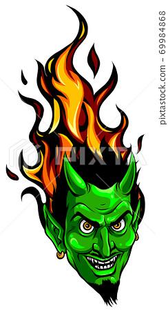 Smiling devil face. Vector illustration. image design 69984868