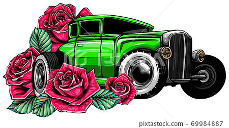 Easter car. Retro automobile driving a bouquet of tulips. Hand drawn vector illustration. 69984887