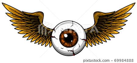 Tattoo Design Of A Flying Eyeball With Wings Stock Illustration 69984888 Pixta