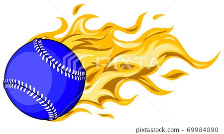 Flaming Baseball Softball Ball Vector Cartoon burning with Fire Flames 69984890
