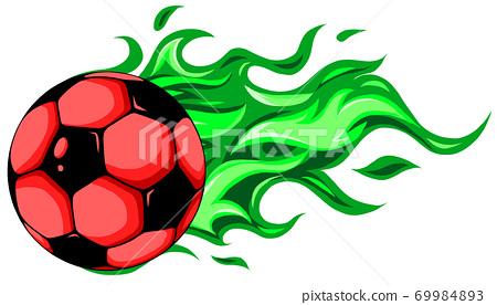 burning soccer ball on white background vector 69984893